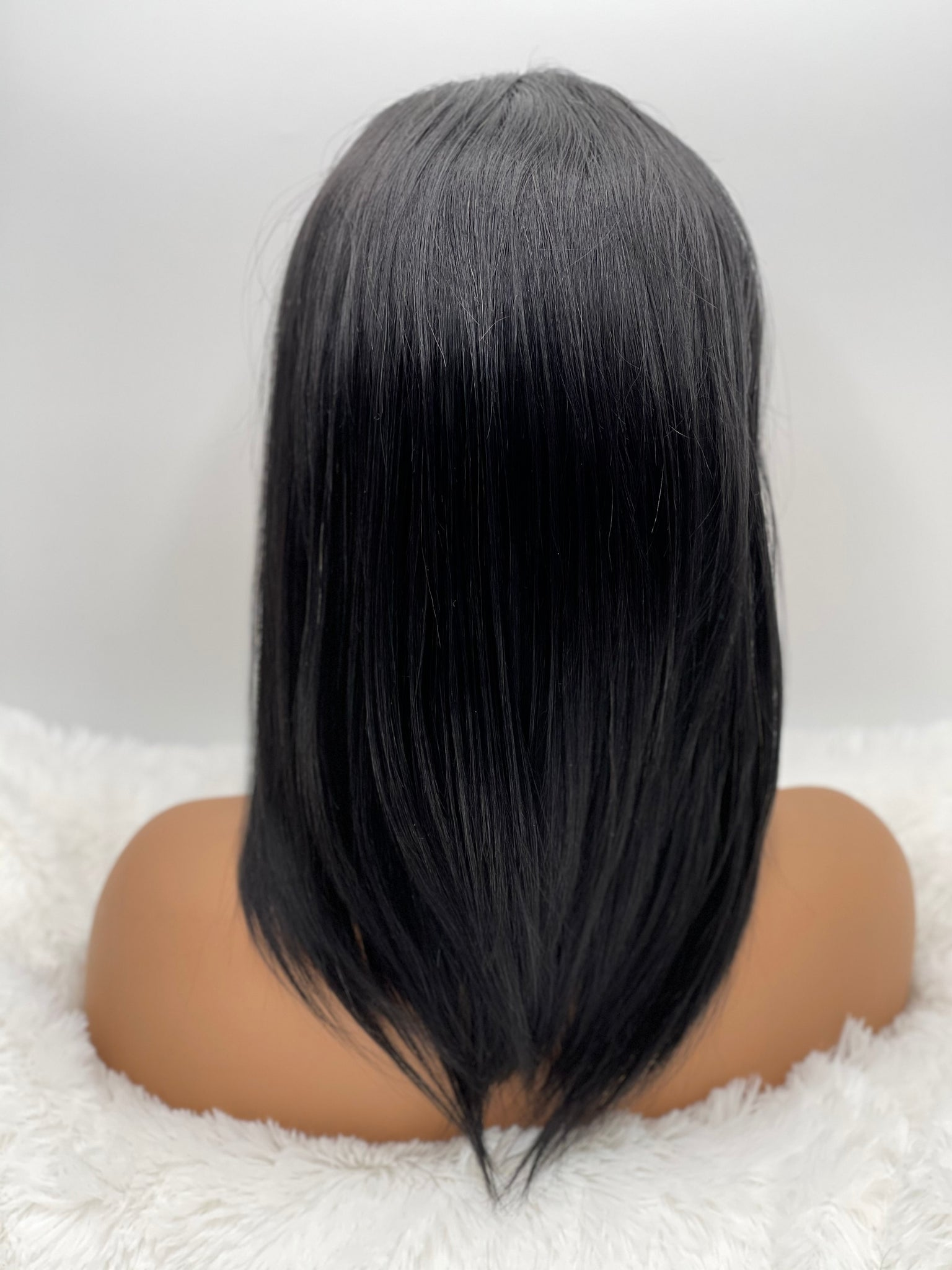 "12"" Straight 13x3 Frontal Lace Wig #1 (Jet Black Hair)"