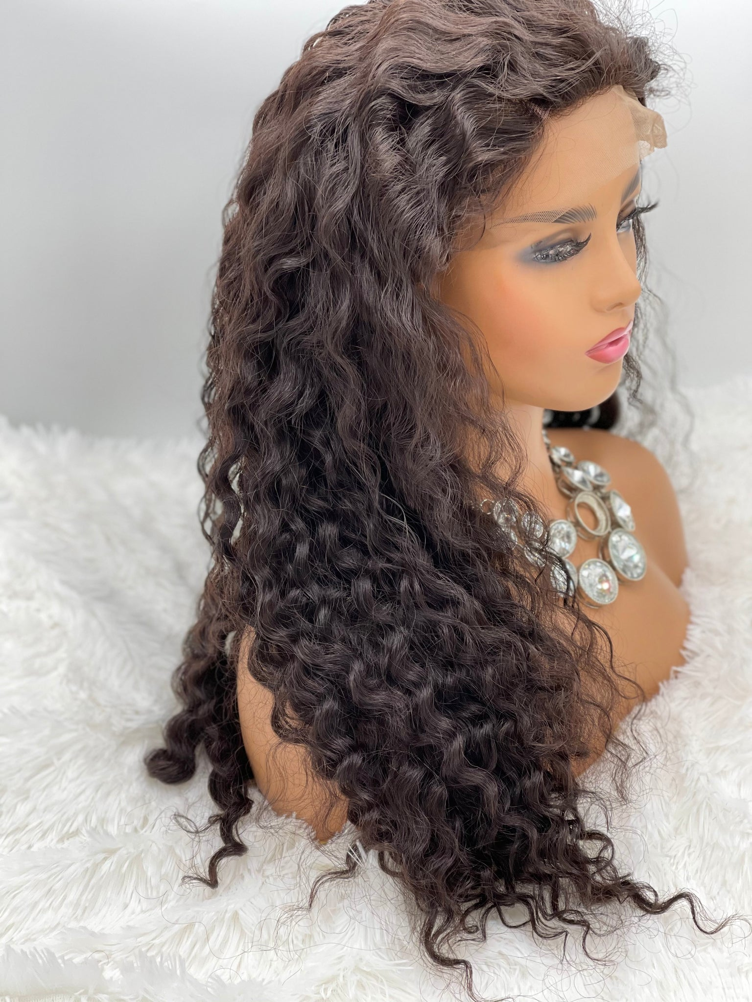 "26"" 360 Lace Wig - Spiral Curl, Platinum Grade Hair 180% Density"