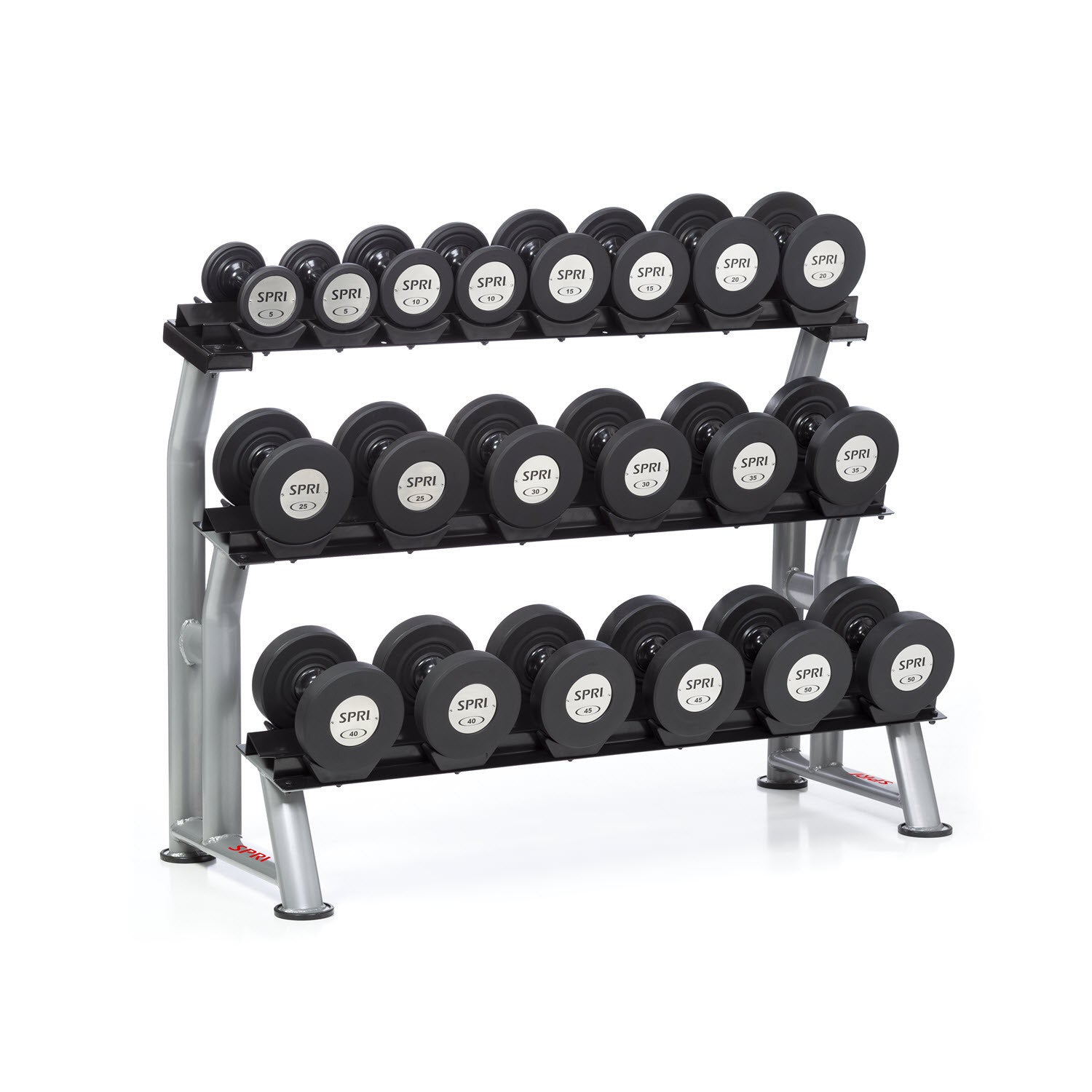 "This 3-tiered saddle-style dumbbell rack is designed to hold a variety of our different types of dumbbells. Saddle-style dumbbell racks have biomechanically designed tiers to make loading and off-loading of dumbbells safer and easier. Dumbbells not included. Assembly required. 3-Tier Deluxe Dumbbell Rack Features: Holds a variety of dumbbell types Saddle-style design is safe and easy use Heavy-duty steel construction Please contact customer service to order: (800) 222-7774 or Customerservice. SPRI@gaiam.com. The 3-Tier Deluxe Dumbbell Rack is exempt from all promotions. Measurements: 68""W x 25""D x 44""H Materials: Heavy-duty 12- and 14-gauge steel construction"