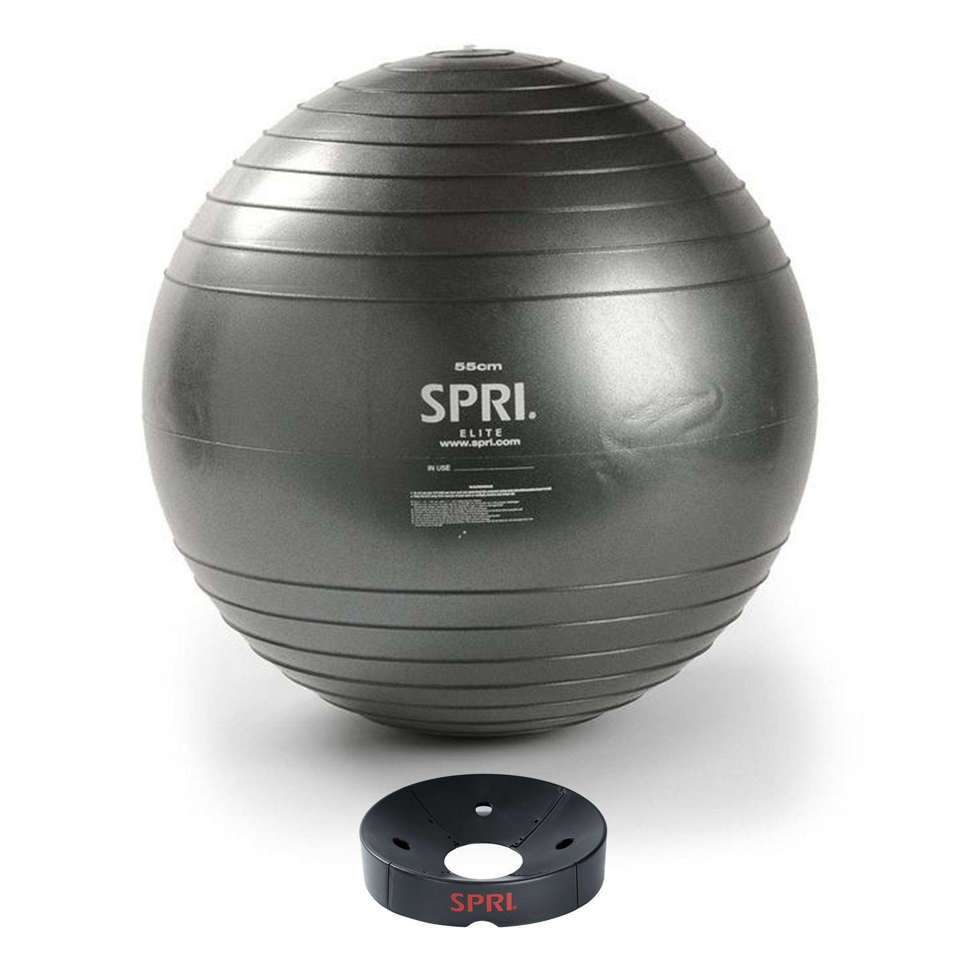 "This 55cm Elite Xercise Ball™ & Base Kit is ideal for rigorous use and tough enough to withstand the demands from a gym. The 55cm ball has slow-deflate anti-burst technology up to 500lbs and ideal for heights 5' - 5'7"". The included Balance Ball Base quickly and easily keeps the ball in place for storage or for additional stability while working out. A $79.96 value! Does not include an inflation pump."