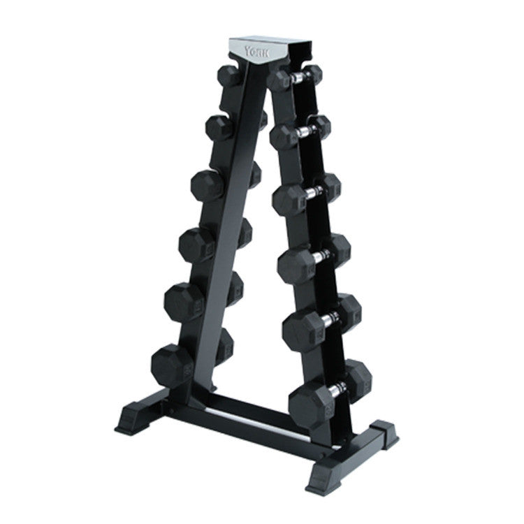 "The A-Frame Weight Rack can accommodate up to 6 pairs of Deluxe Rubber Dumbbells. Made with an all-steel construction, A-Frame shape and bolt-together design, this rack is sturdier and more durable than other racks. Dumbbells not included. A-Frame Weight Rack Features: Holds up to 6 pairs of Deluxe Rubber Dumbbells All-steel construction Sturdy A-Frame shape Bolt-together design Measurements: 44.5""H x 27""W x 16.5""D"
