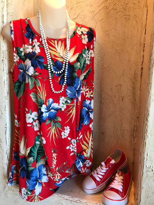 Sleeveless Red Floral Top