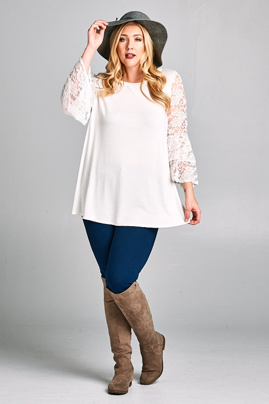 Ivory Top Lace Sleeve (Plus)
