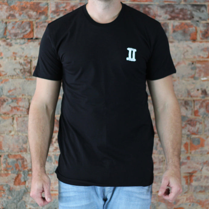 Black small front large back print