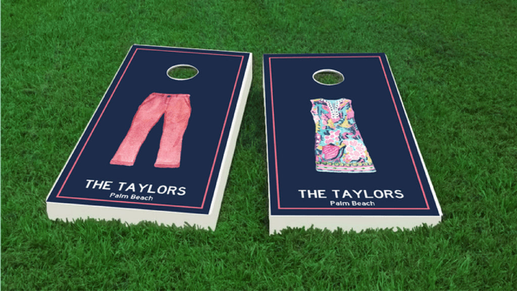 Personalized Custom Preppy Cornhole Boards
