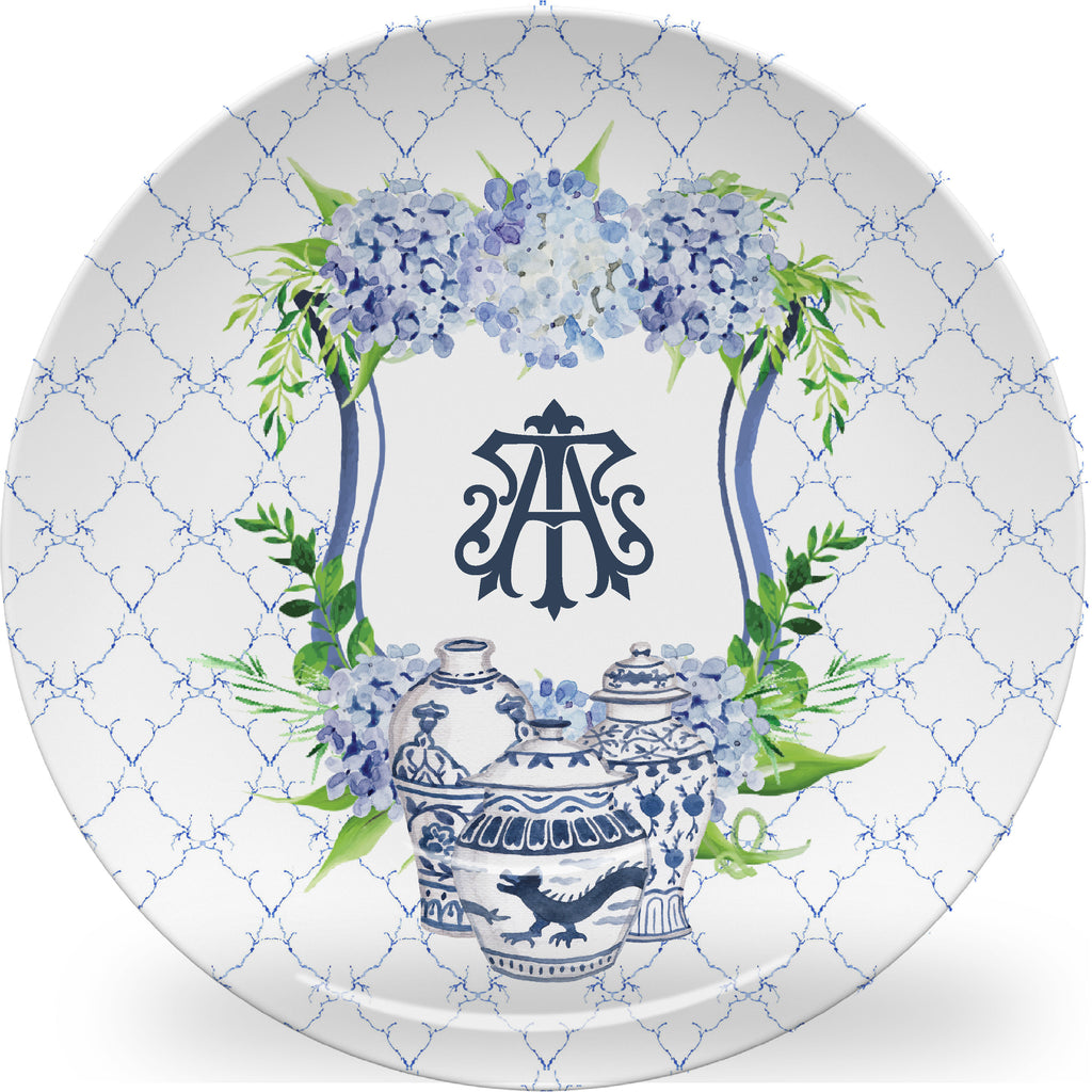Luxury Ginger Jar Monogrammed Crest ThermoSāf® Plate and Platter - Oven Safe, Microwave Safe, Dishwasher Safe, BPA Free!