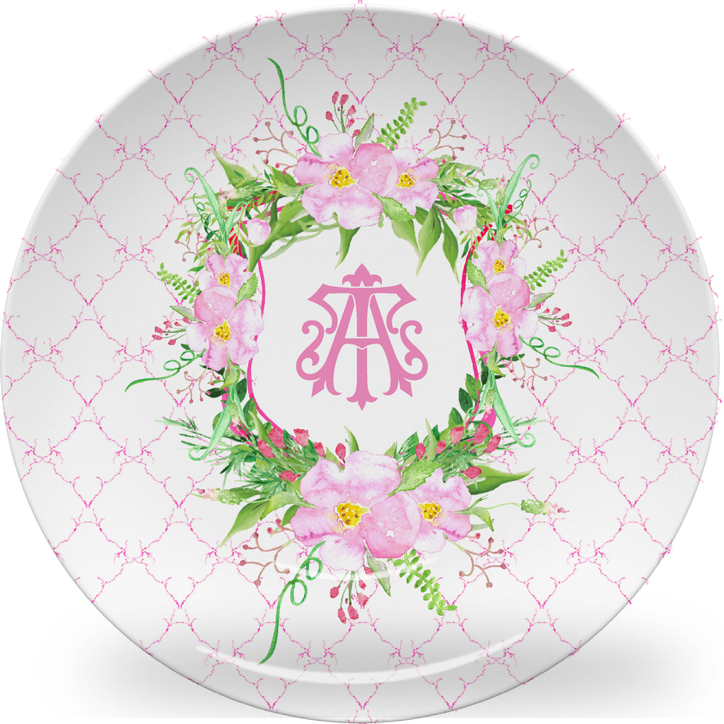 Luxury Hamptons Roses Monogrammed Crest ThermoSāf® Plate, Platter And Bowl - Oven Safe, Microwave Safe, Dishwasher Safe, BPA Free!