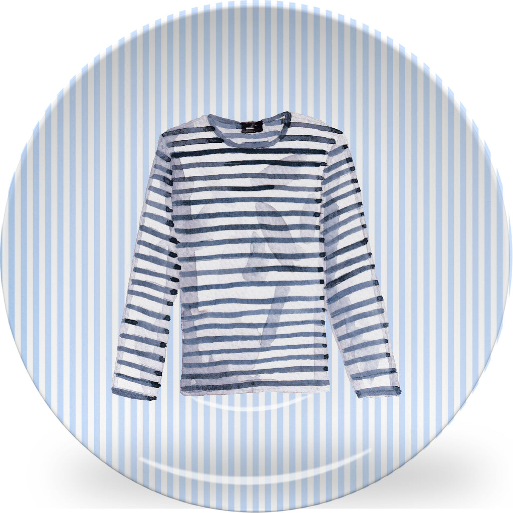 Luxury Breton Shirt ThermoSāf® Plate, Platter And Bowl - Oven Safe, Microwave Safe, Dishwasher Safe, BPA Free!