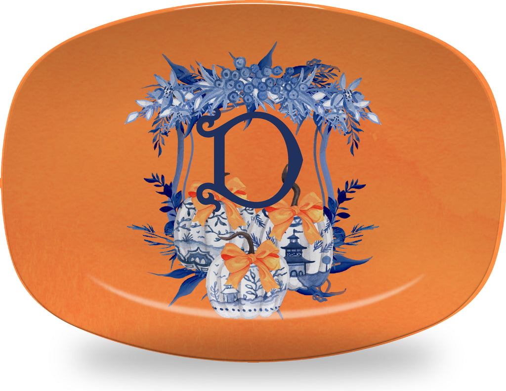 Luxury Chinoiserie Pumpkin Crest ThermoSāf® Plate, Platter And Bowl With Optional Monogram - Oven Safe, Microwave Safe, Dishwasher Safe, BPA Free!