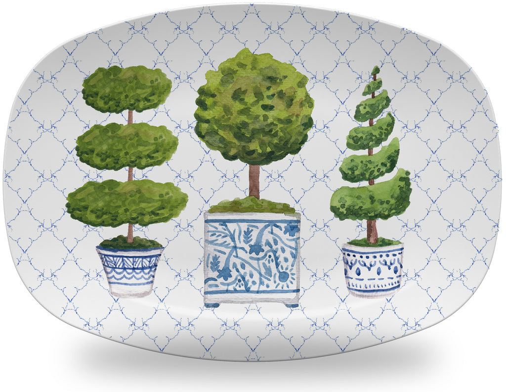 Luxury Chinoiserie Topiary Trio ThermoSāf® Plate, Platter And Bowl - Oven Safe, Microwave Safe, Dishwasher Safe, BPA Free!