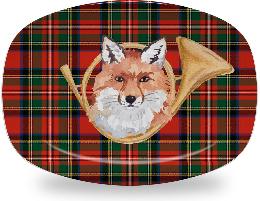 Luxury Hunting Horn Royal Stewart Plaid ThermoSāf® Plate, Platter And Bowl - Oven Safe, Microwave Safe, Dishwasher Safe, BPA Free!