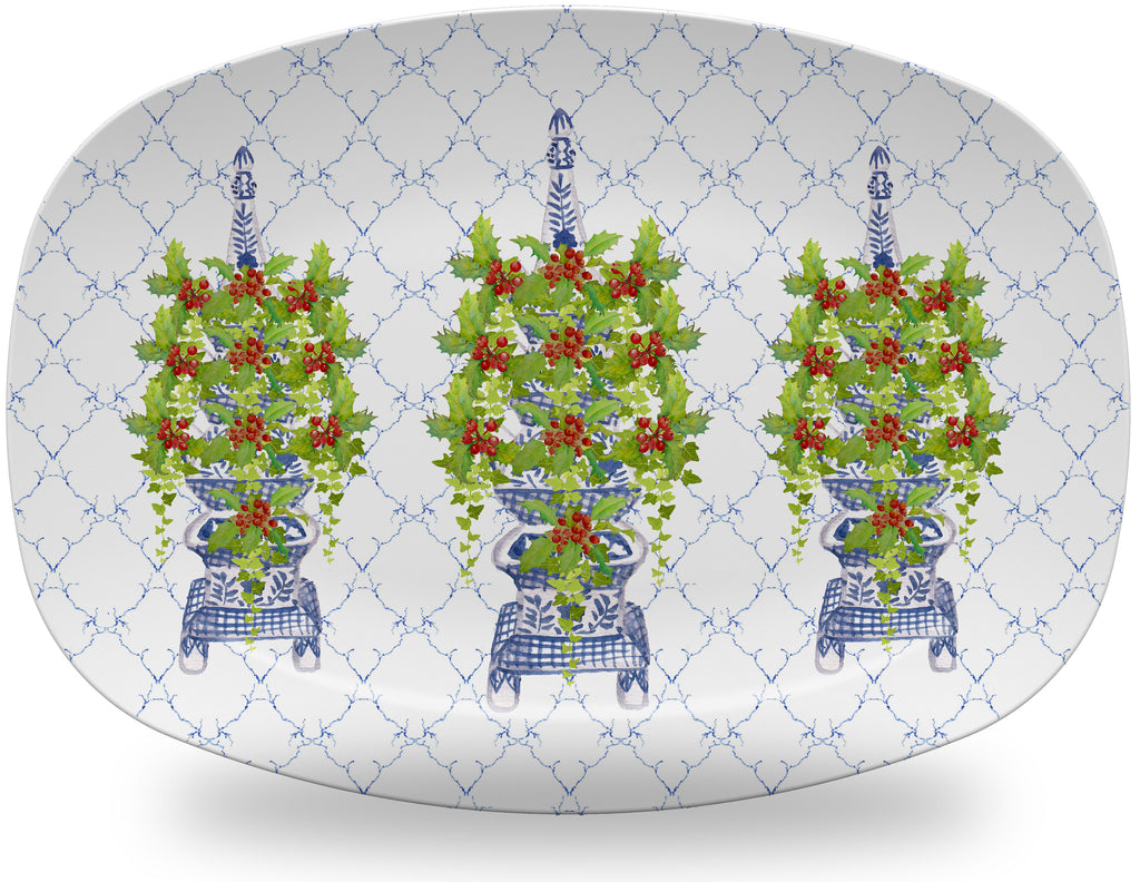 Luxury Chinoiserie Holly And Ivy Tulipiere ThermoSāf® Plate, Platter And Bowl - Oven Safe, Microwave Safe, Dishwasher Safe, BPA Free!