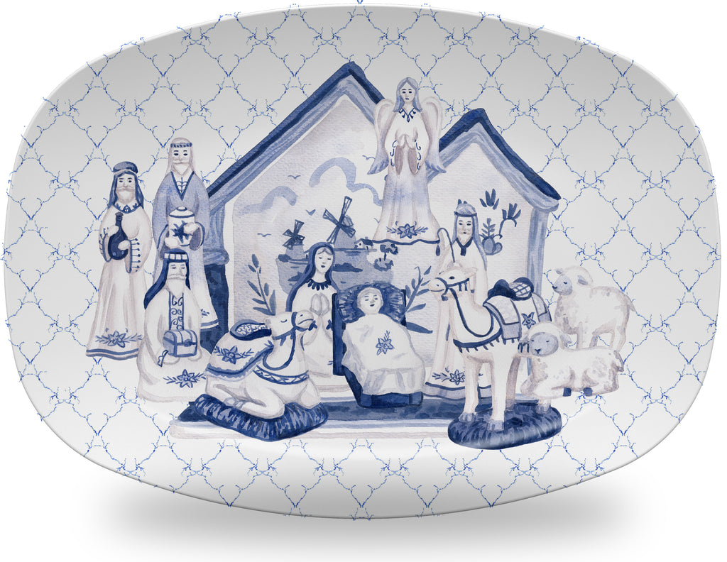Luxury Chinoiserie Delft Nativity ThermoSāf® Plate and Platter - Oven Safe, Microwave Safe, Dishwasher Safe, BPA Free!