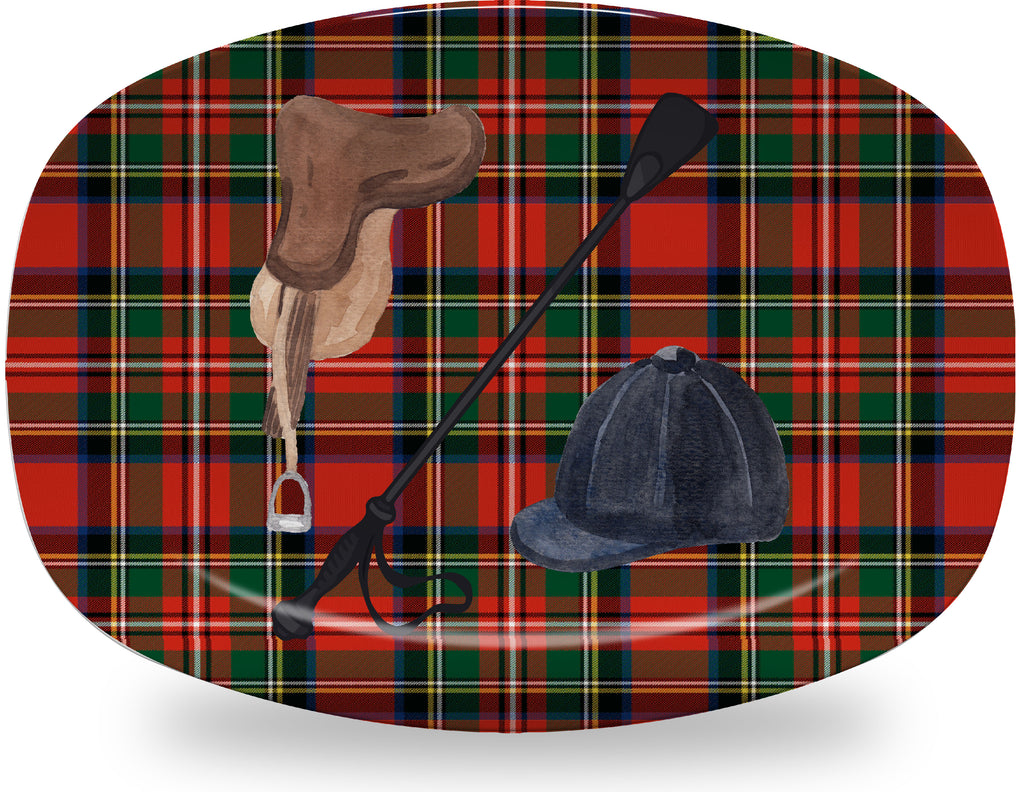Luxury Going For A Ride Royal Stewart Plaid ThermoSāf® Platter - Oven Safe, Microwave Safe, Dishwasher Safe, BPA Free!