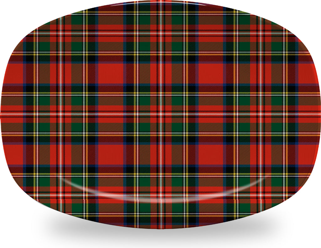 Luxury Royal Stewart Tartan Plaid ThermoSāf® Plate, Platter And Bowl With Optional Monogram - Oven Safe, Microwave Safe, Dishwasher Safe, BPA Free!