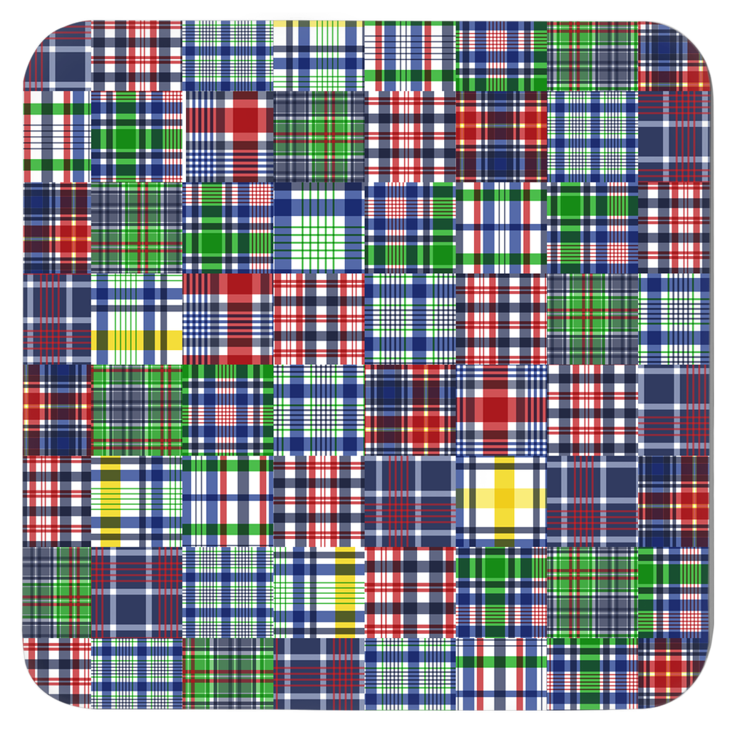 Assorted Madras Plaid Coasters - Set of Six Assorted Madras Patterns