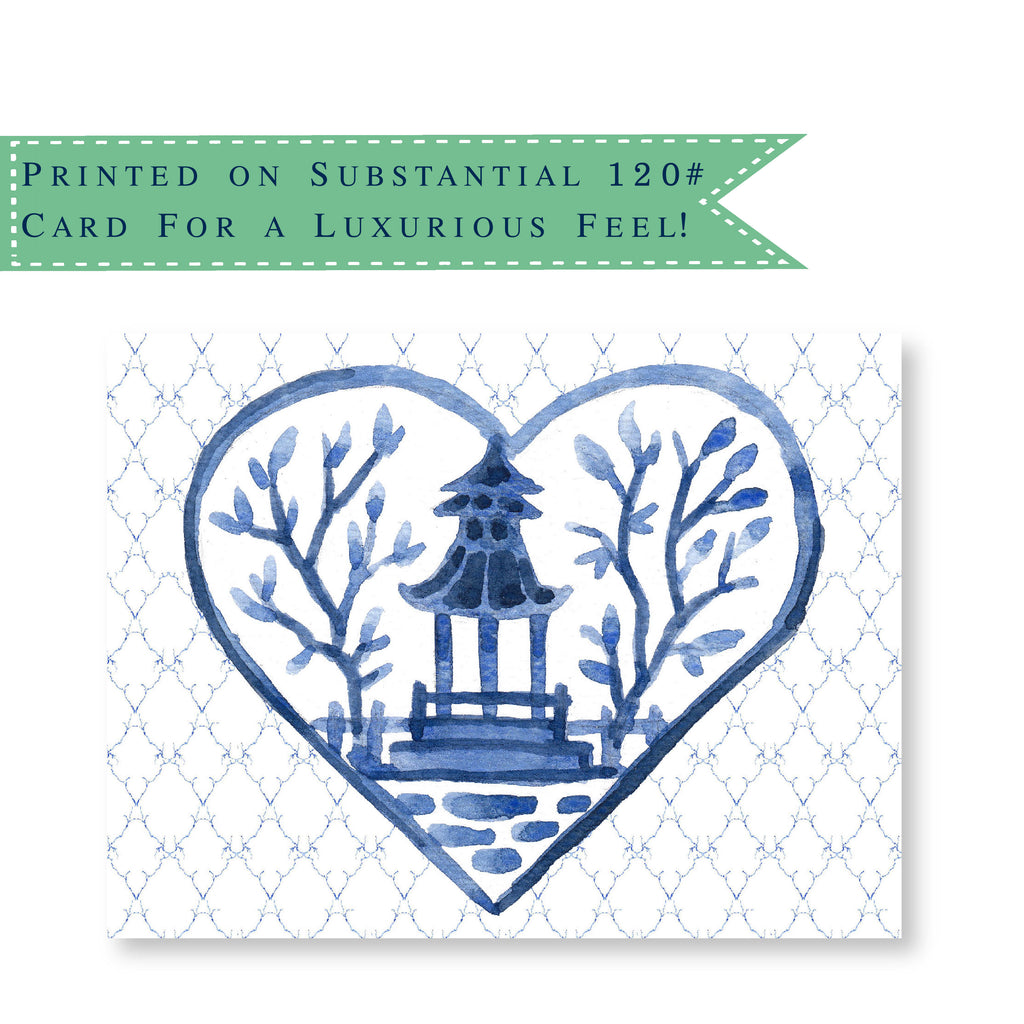 Luxury Chinoiserie Hearts Folded Notecards