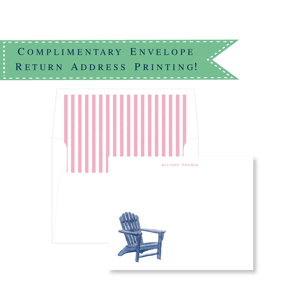 Adirondack Chair Personalized Note Cards
