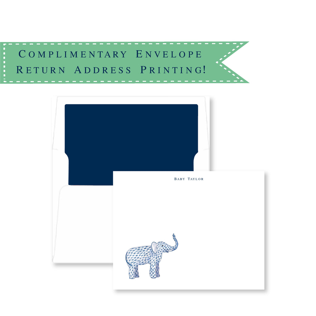 Luxury Unisex Elephant Baby Shower Thank You Cards