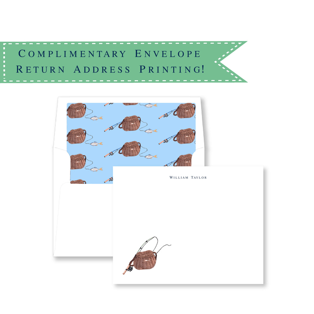 Gone Fishing Personalized Note Cards