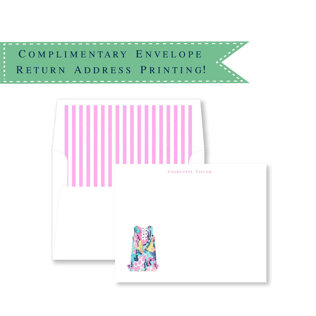 Girls' Summer Shift Dress Personalized Note Cards
