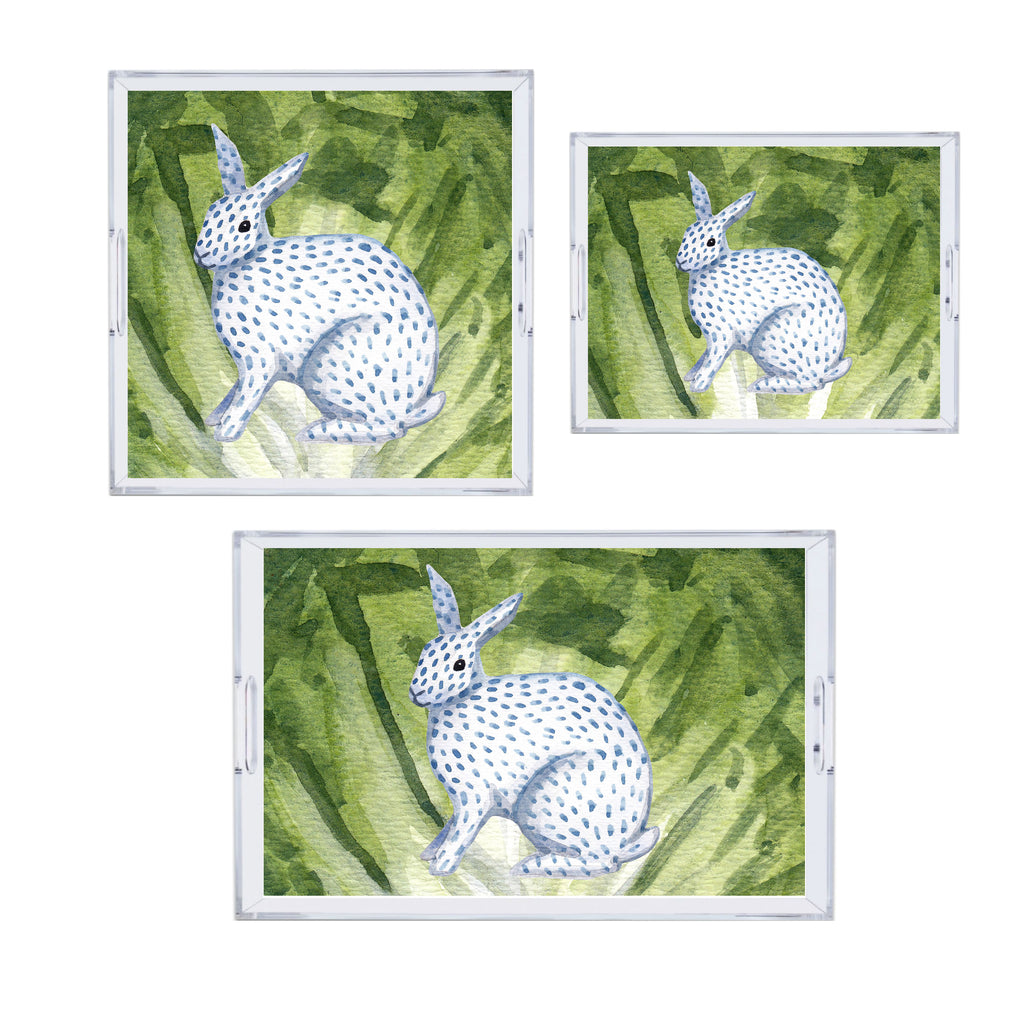 Luxury Lettuce Leaf With Ceramic Bunny Acrylic Tray - Available In 3 Sizes! BPA-Free Acrylic Tray