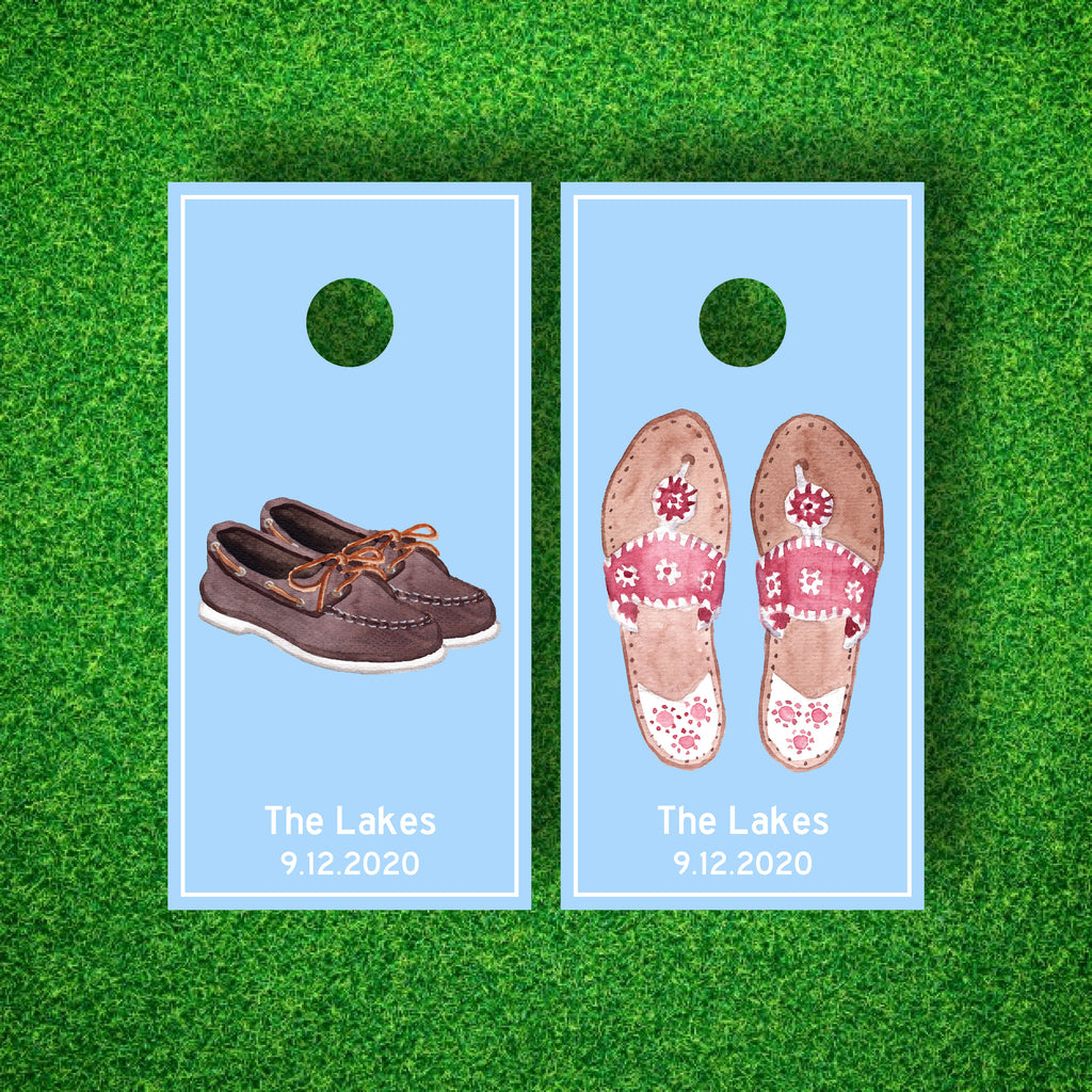Luxury Summer Shoes - Ivy League Style Personalized Cornhole Board Set