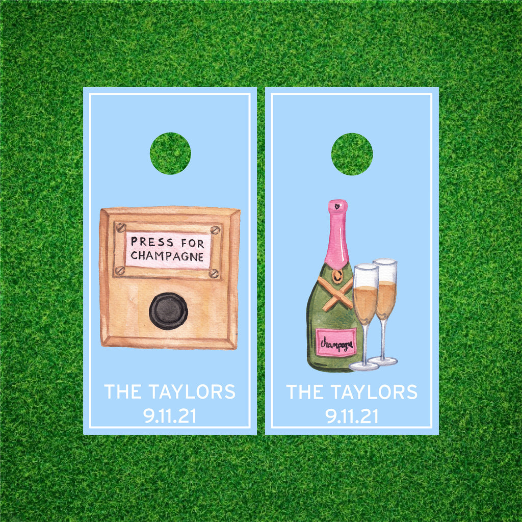 Luxury Cheers! Champagne Personalized Cornhole Board Set