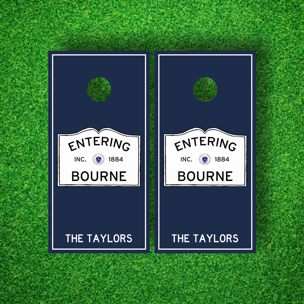 Luxury Entering Your Town Personalized Cornhole Board Set