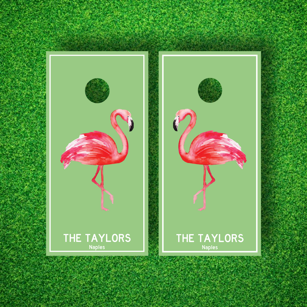 Luxury Flamingo Personalized Cornhole Board Set