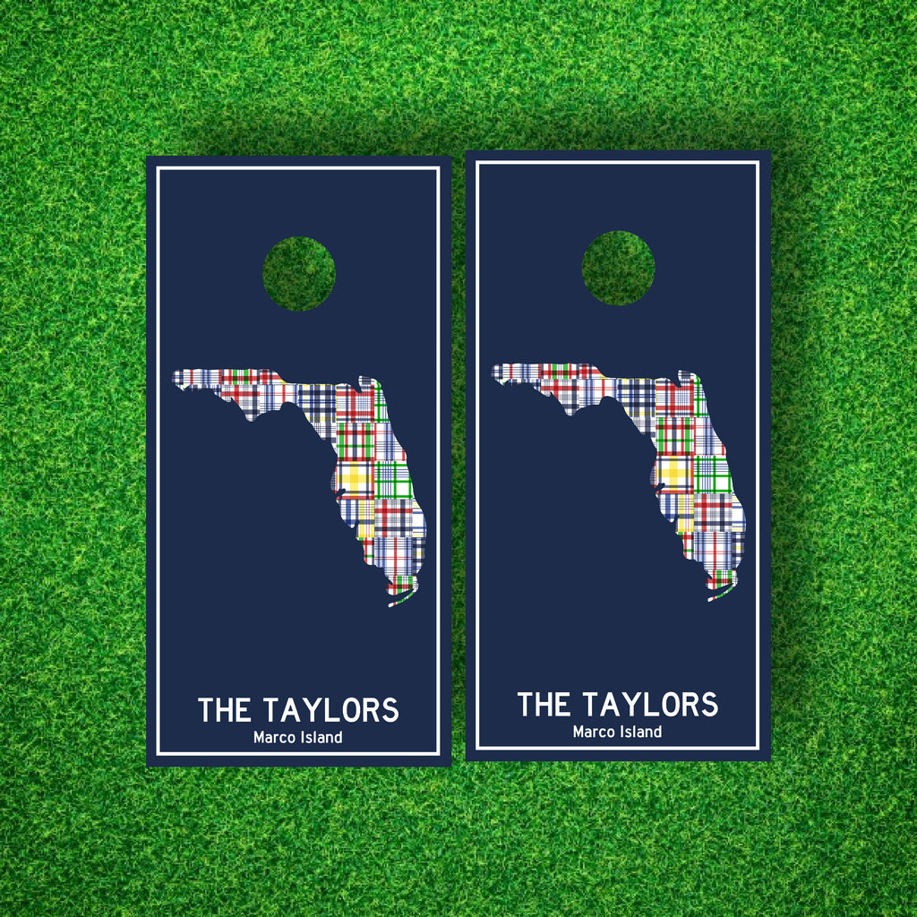Luxury Madras States Personalized Cornhole Board Set