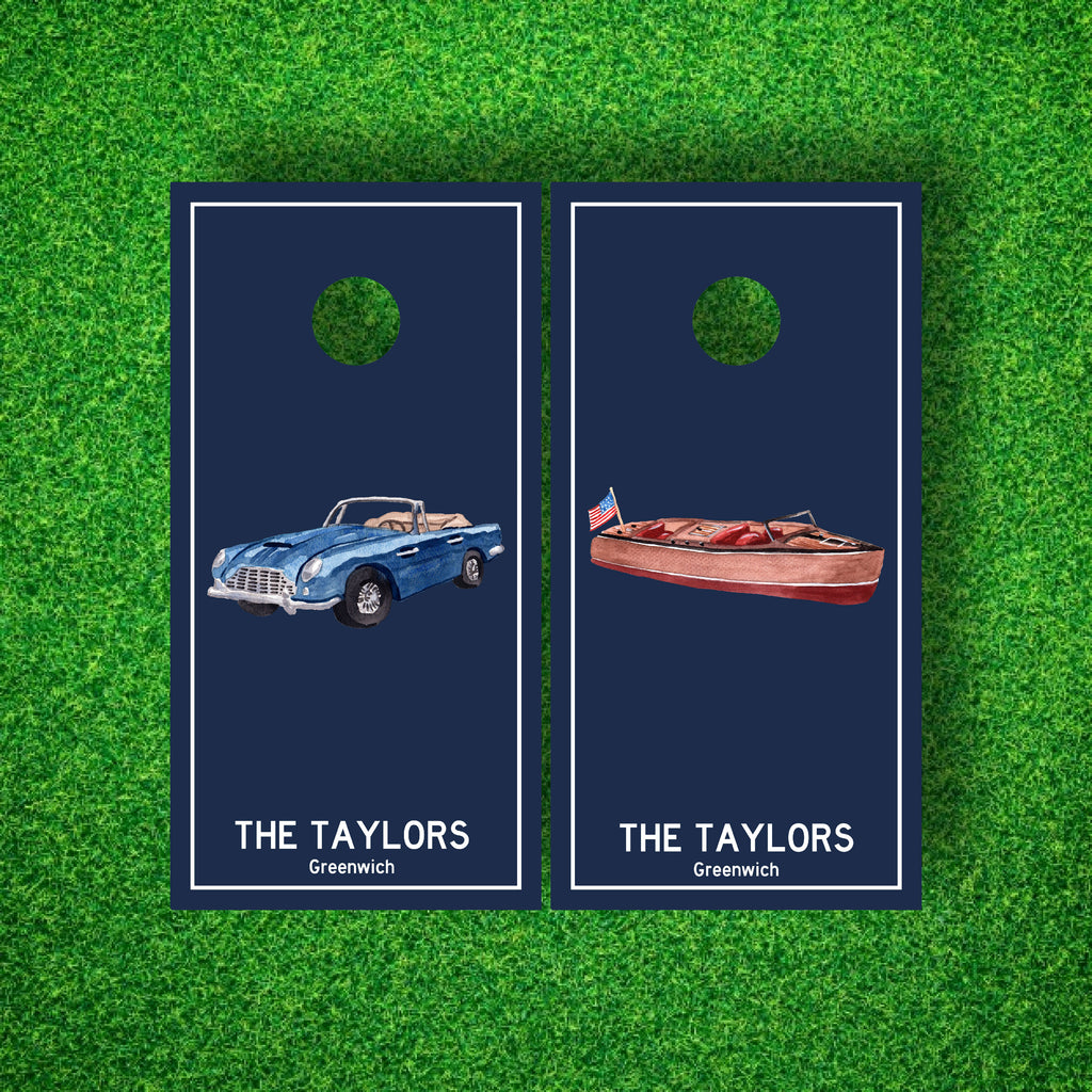 Luxury Teak Speedboat And Sports Car Personalized Cornhole Board Set