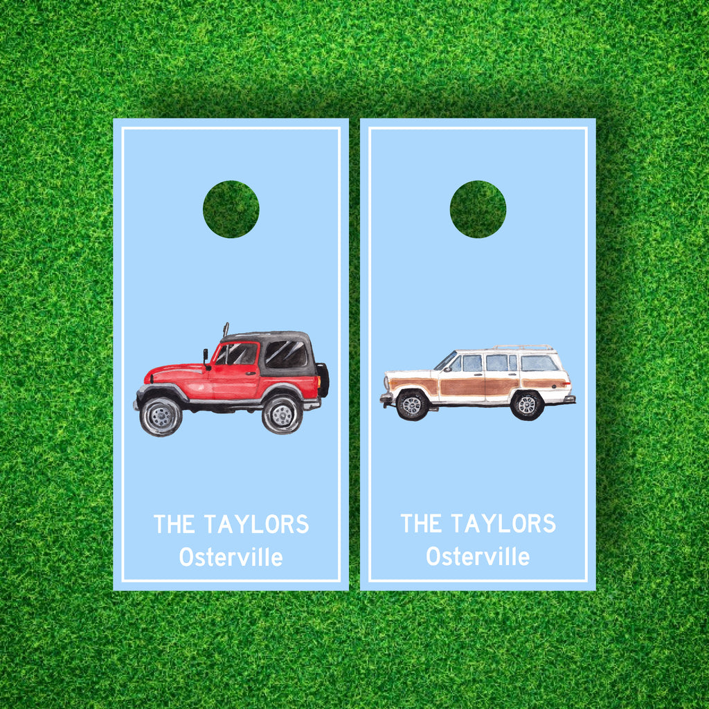 Luxury Summer Cars Woodie and Jeep Personalized Cornhole Boards