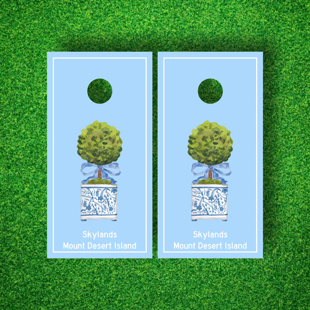 Luxury Chinoiserie Topiary Personalized Cornhole Board Set