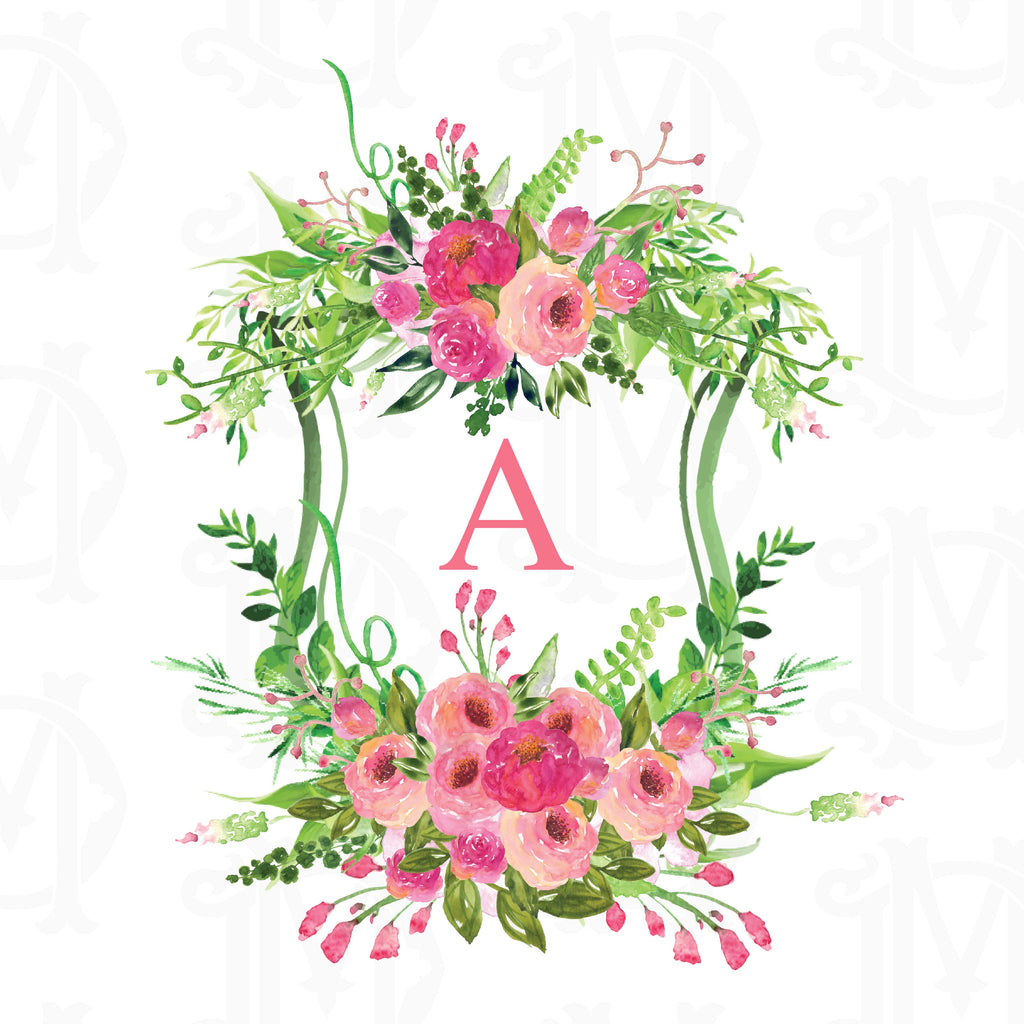 Create Your Own Pink Roses Custom Watercolor Crest