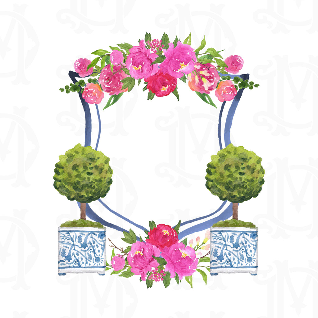Create Your Own Chinoiserie Peony Custom Watercolor Crest