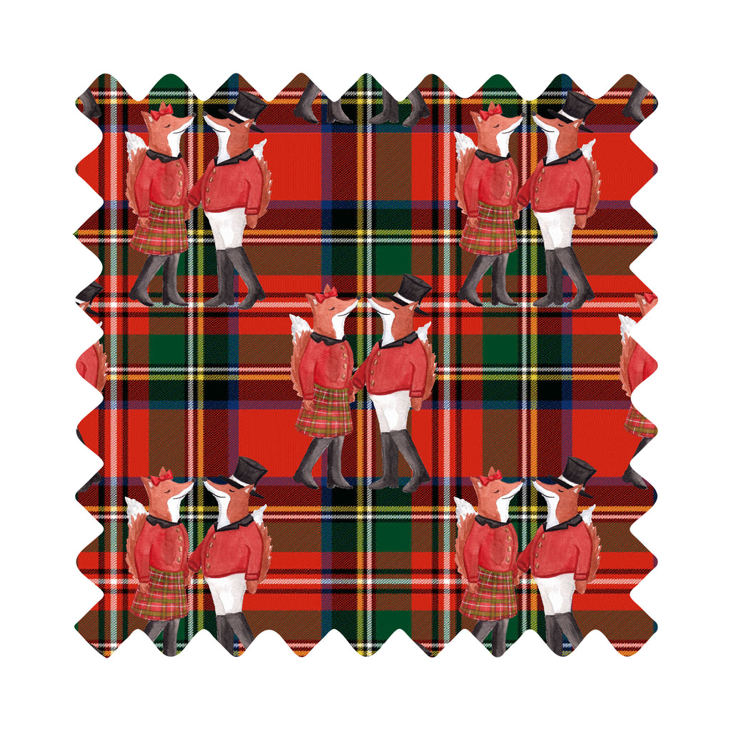 Mr. And Mrs. Snooty Fox On Royal Stewart Tartan Gift Wrapping Paper