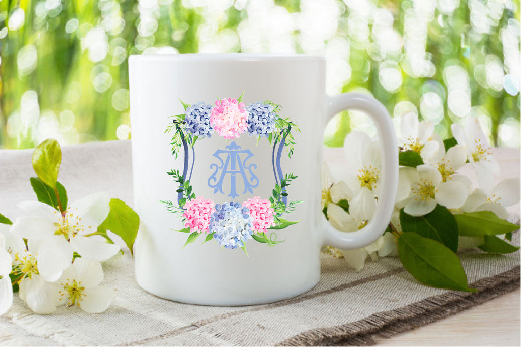Create Your Own Blue and Pink Hydrangea Custom Watercolor Crest