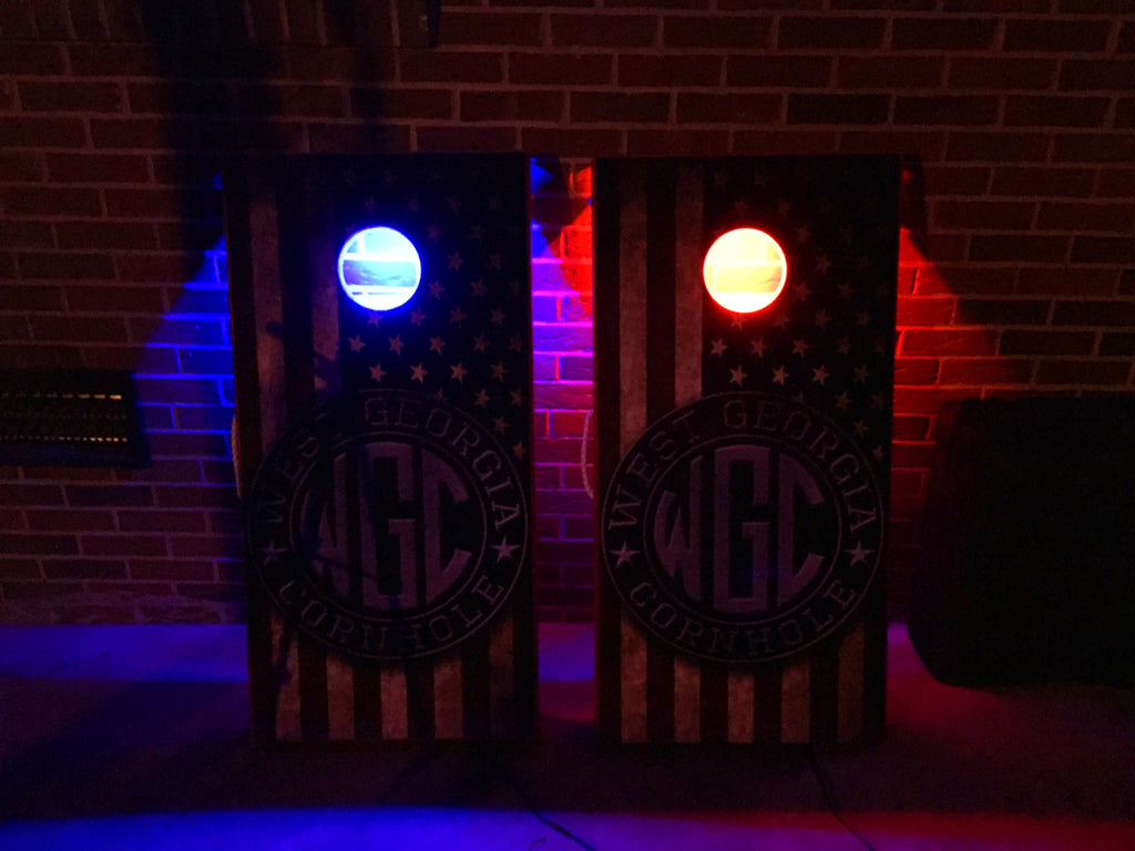 Luxury Cape Cod Madras Monogrammed Cornhole Board Set