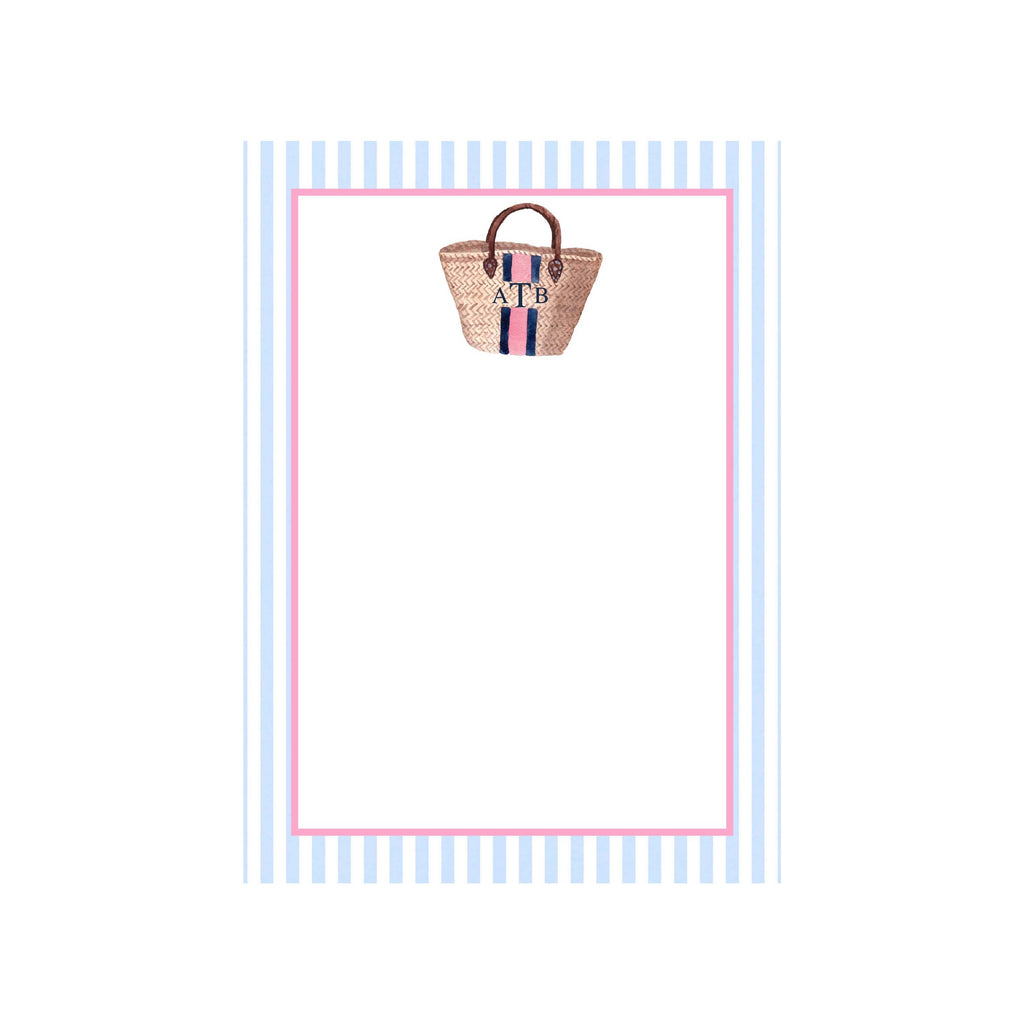 Ladies' Straw Tote Personalized Notepad