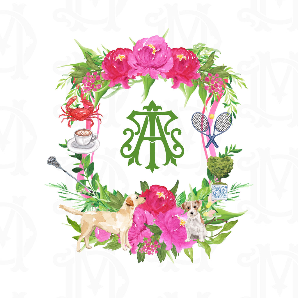 Create Your Own Pink Peonies Custom Watercolor Crest
