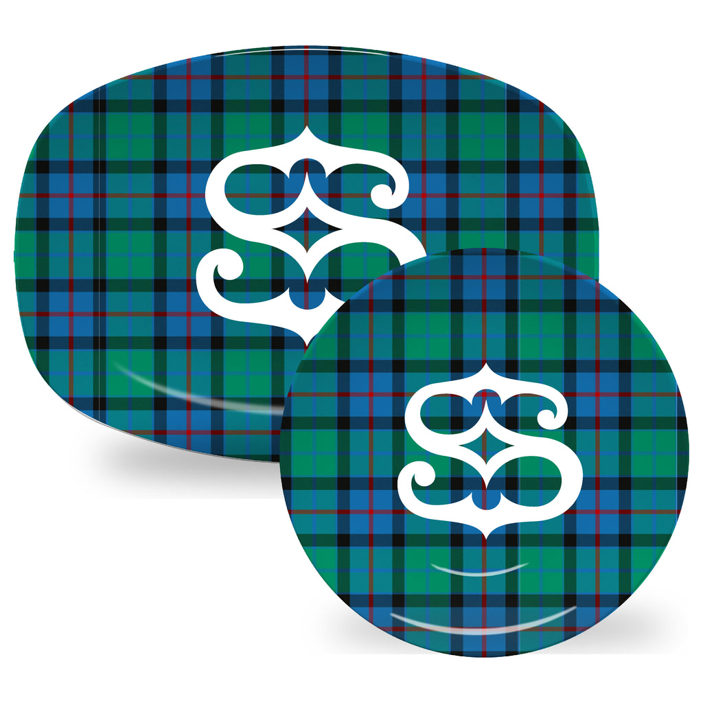 Luxury Flower Of Scotland Tartan Plaid ThermoSāf® Plate And Platter With Optional Monogram - Oven Safe, Microwave Safe, Dishwasher Safe, BPA Free!