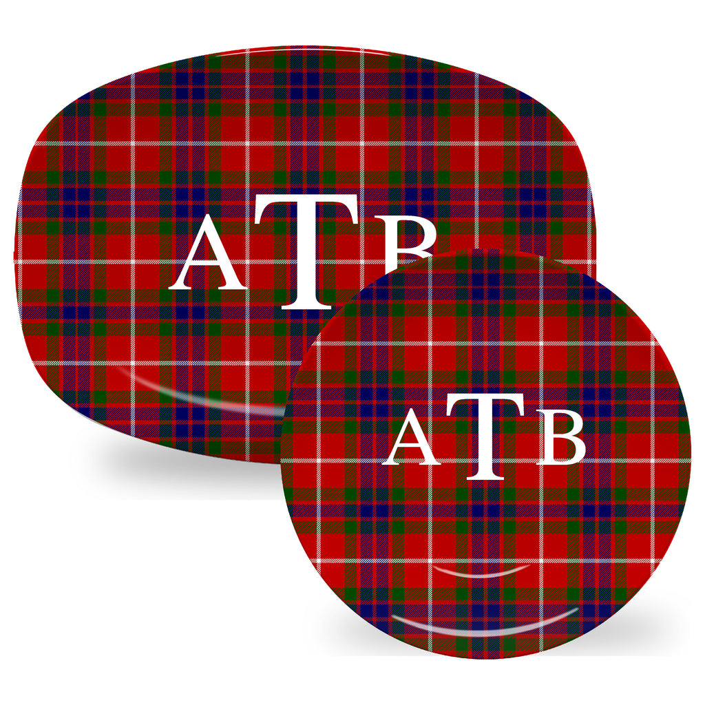 Luxury Fraser Tartan Plaid ThermoSāf® Plate And Platter With Optional Monogram - Oven Safe, Microwave Safe, Dishwasher Safe, BPA Free!