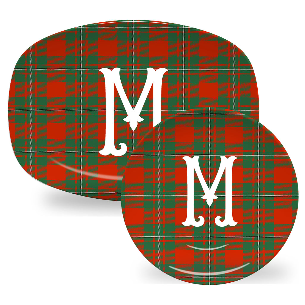 Luxury MacGregor Tartan Plaid ThermoSāf® Plate And Platter With Optional Monogram - Oven Safe, Microwave Safe, Dishwasher Safe, BPA Free!