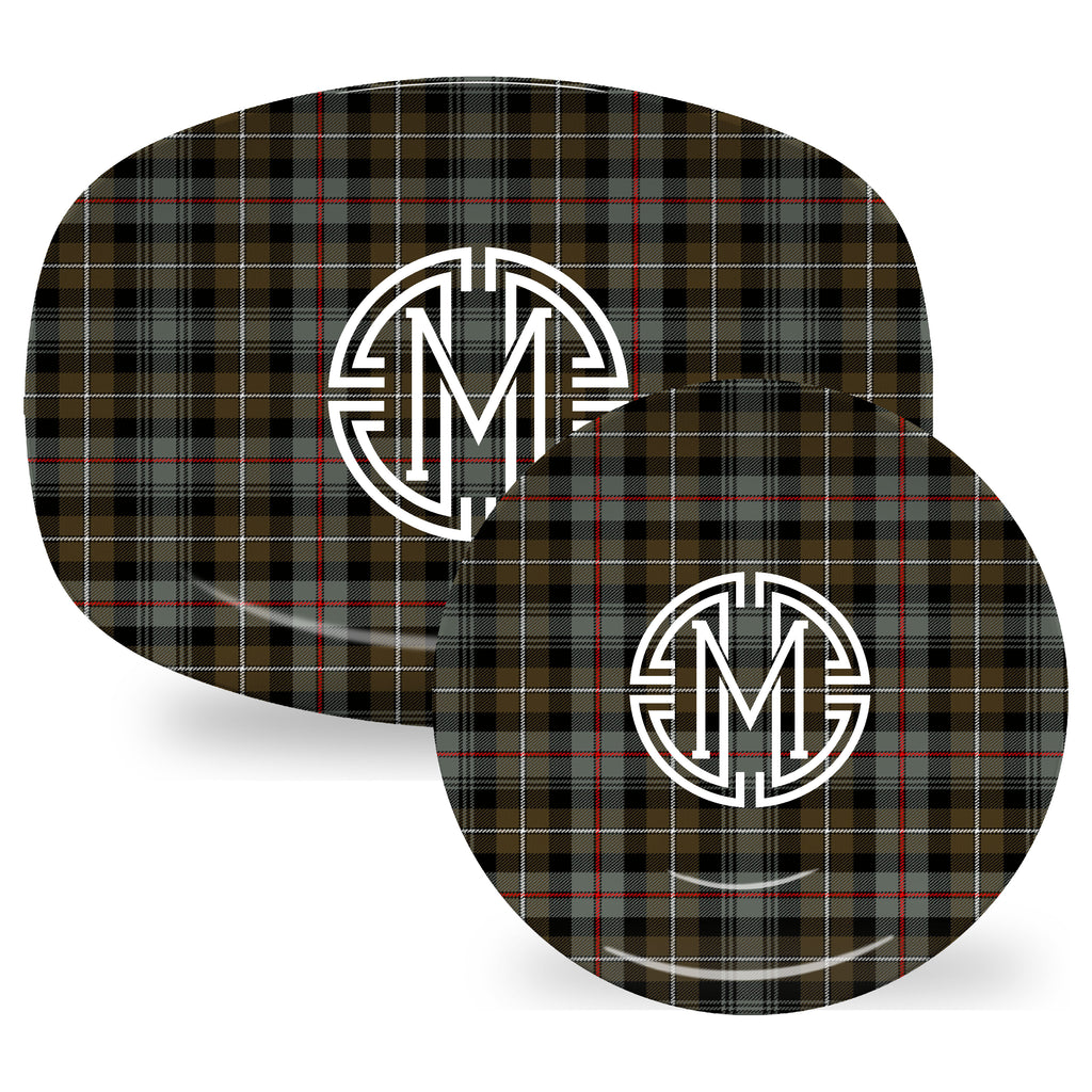 Luxury MacKenzie Weathered Tartan Plaid ThermoSāf® Plate And Platter With Optional Monogram - Oven Safe, Microwave Safe, Dishwasher Safe, BPA Free!