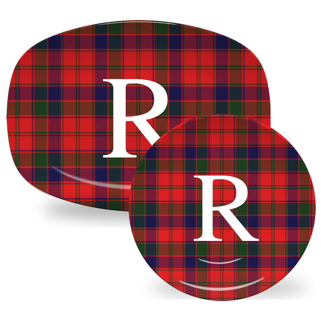 Luxury Robertson Tartan Plaid ThermoSāf® Plate, Platter And Bowl With Optional Monogram - Oven Safe, Microwave Safe, Dishwasher Safe, BPA Free!