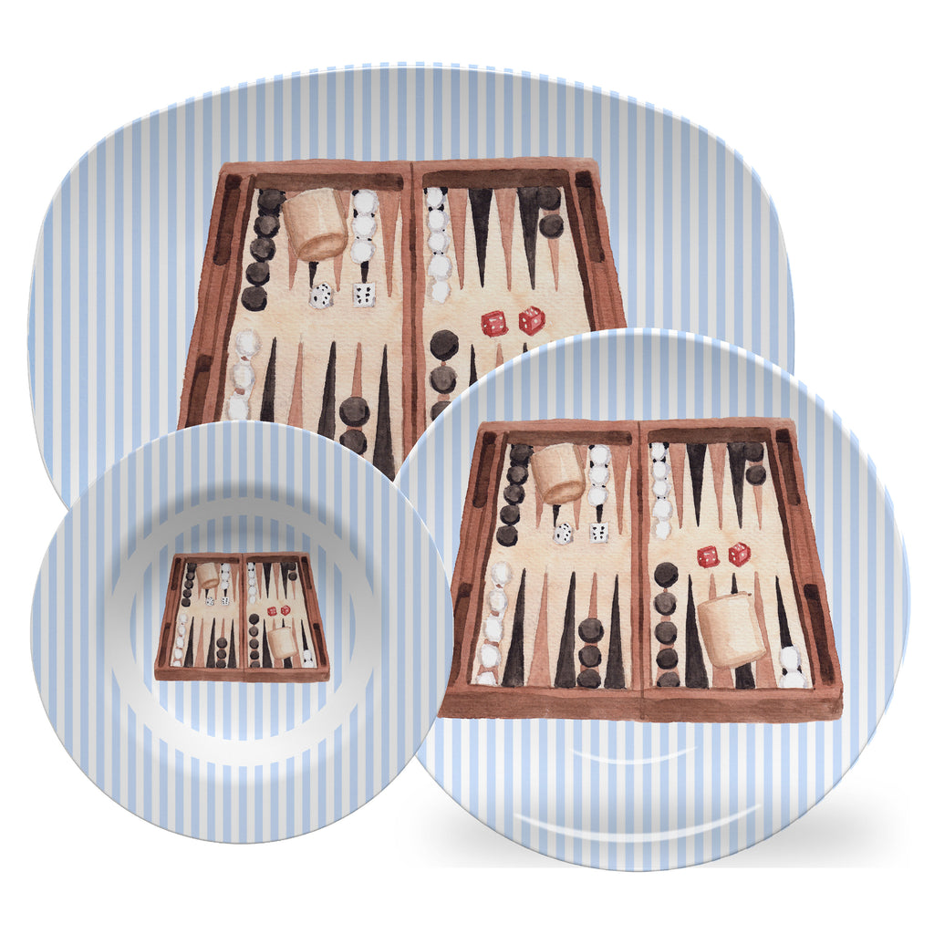 Luxury Backgammon ThermoSāf® Plate, Platter And Bowl - Oven Safe, Microwave Safe, Dishwasher Safe, BPA Free!