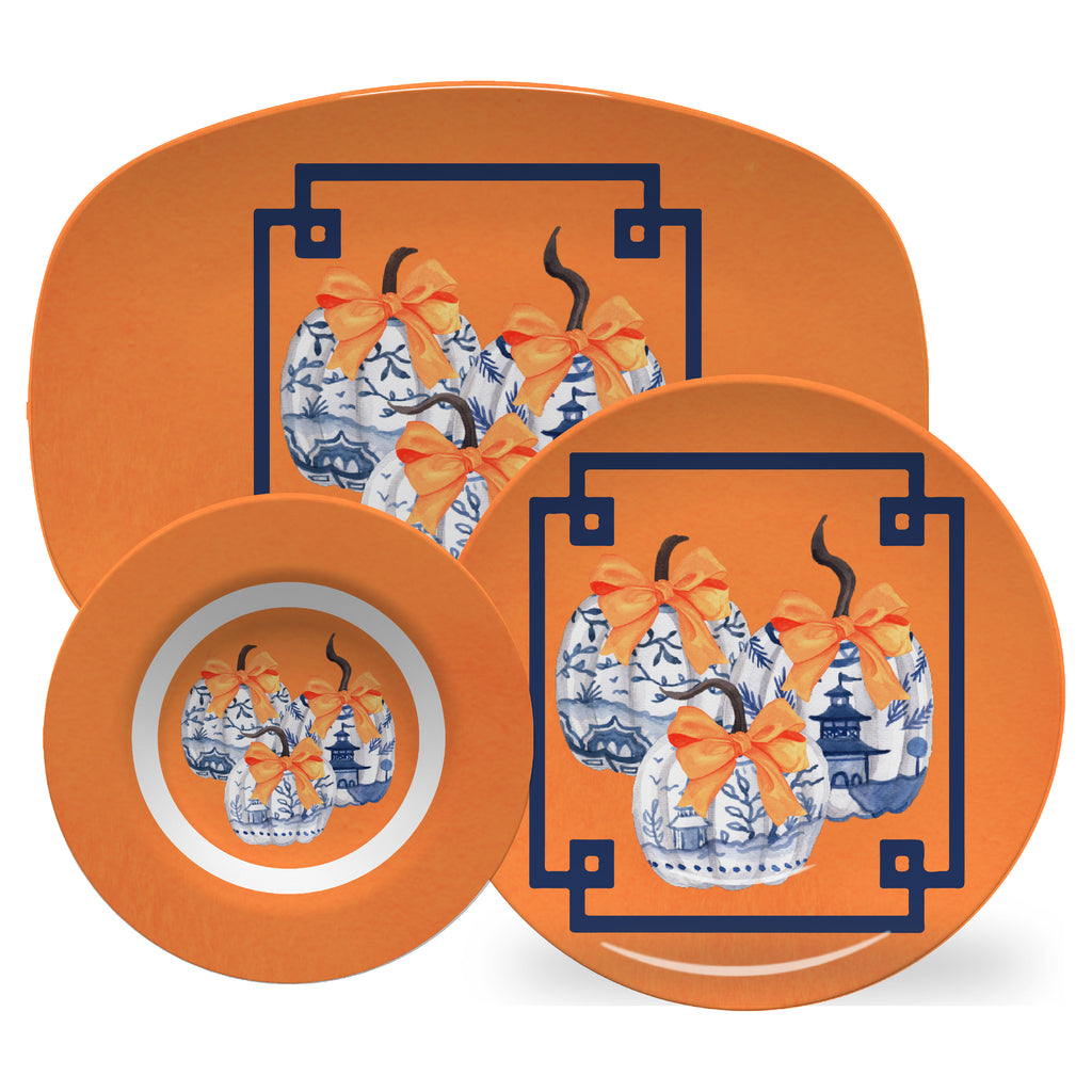 Luxury Chinoiserie Pumpkins ThermoSāf® Plate, Platter And Bowl - Oven Safe, Microwave Safe, Dishwasher Safe, BPA Free!