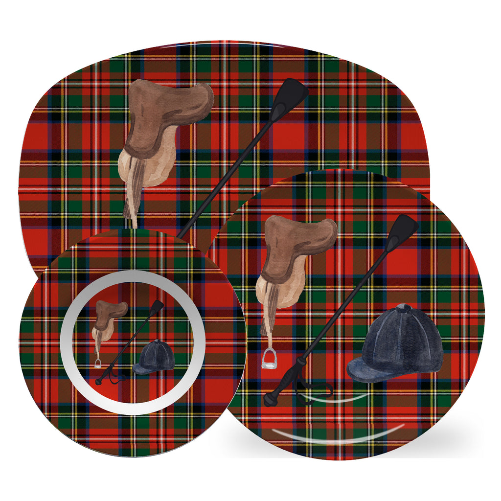 Luxury Out For A Ride Royal Stewart Plaid ThermoSāf® Plate, Platter And Bowl - Oven Safe, Microwave Safe, Dishwasher Safe, BPA Free!