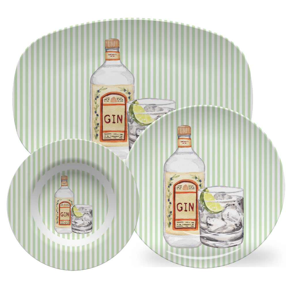 Luxury Gin And Tonic ThermoSāf® Plate, Platter And Bowl - Oven Safe, Microwave Safe, Dishwasher Safe, BPA Free!